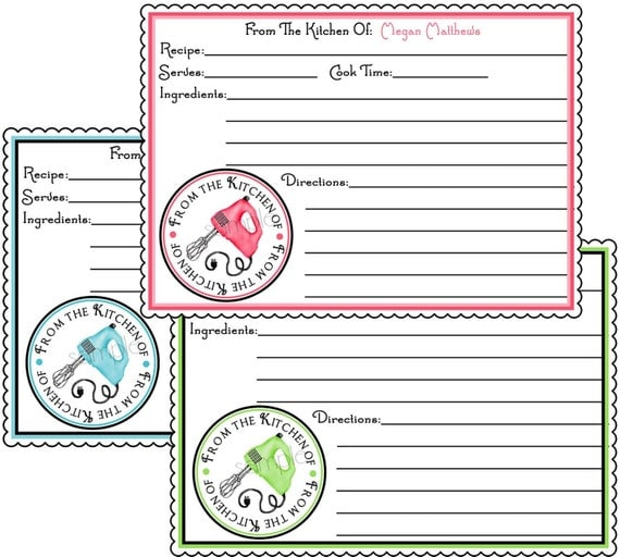 Personalized Recipe Cards, Hand Mixer, Retro, Cooking, Baking ...