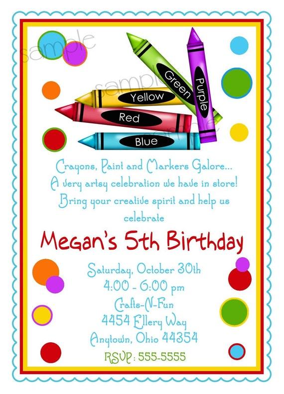 Items similar to Art Party Invitations Crayon invitations Art – Art Party Invitation