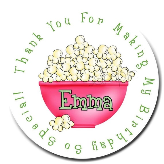 Popcorn stickers,Movie night, personalized, slumber party,sleepover, pajama party, labels, favor stickers, birthday,set of 12