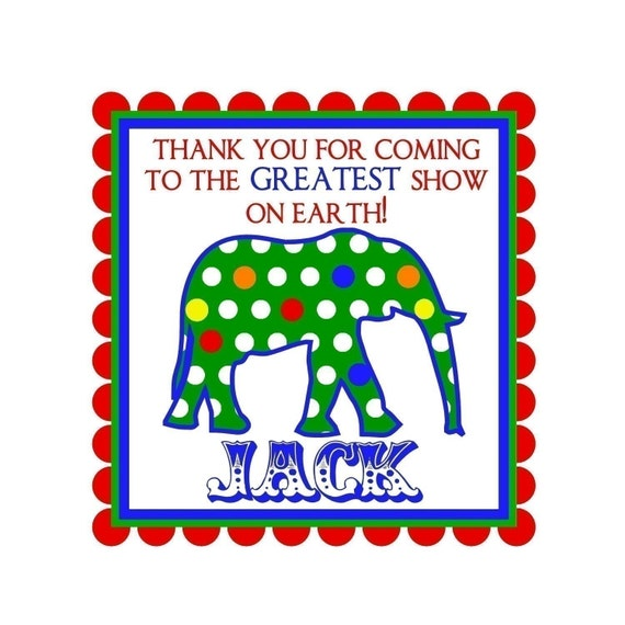Personalized Stickers, Circus, Carnival, Elephant, Polka Dots, Birthday, Party, Favor, Labels, Tags, Seals, set of 20 GLOSSY Stickers