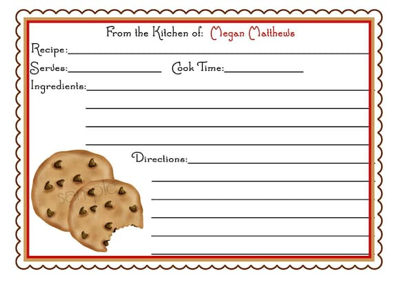 Personalized Recipe Cards Chocolate Chip Cookies Kitchen
