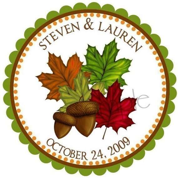Fall stickers, Maple Leaves, Acorns,  Leaf, Fall, Wedding, Lables,  Embellishment, Tree, Nature , Favor, set of 12