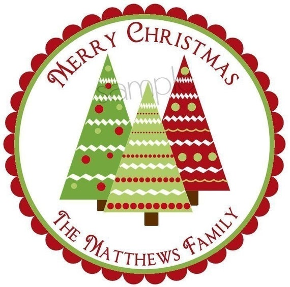 Christmas stickers trees holiday labels tags