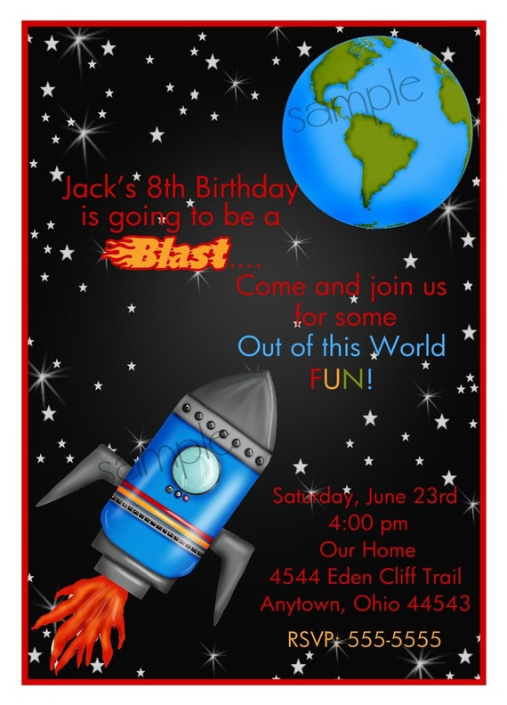 rocket ship invitations space birthday party outer space