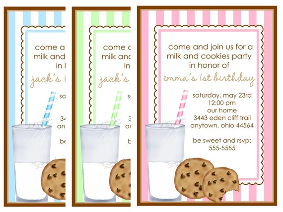 Items similar to Cookies and Milk invitations Milk and Cookies – Cookie Party Invitation