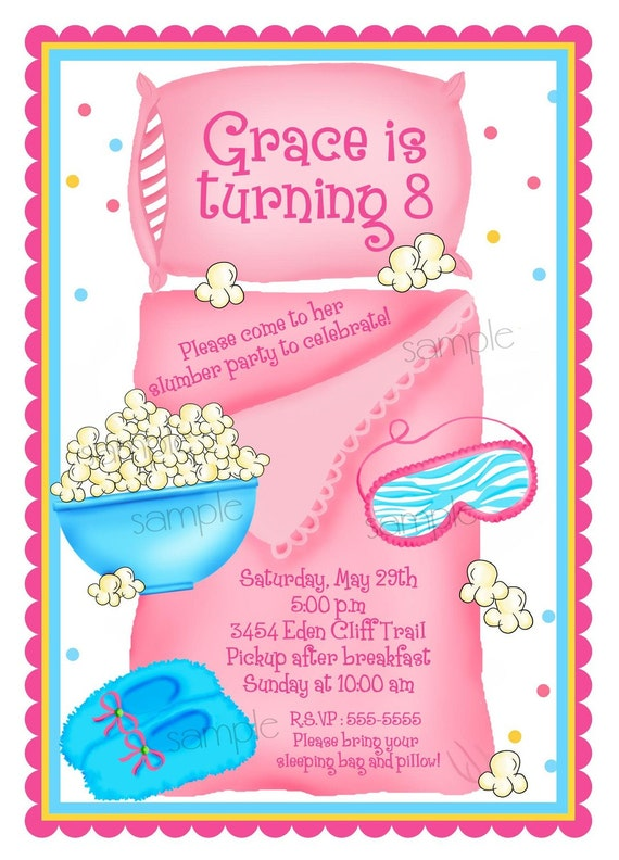 Sleepover invitations Sleepover Slumber Party Personalized