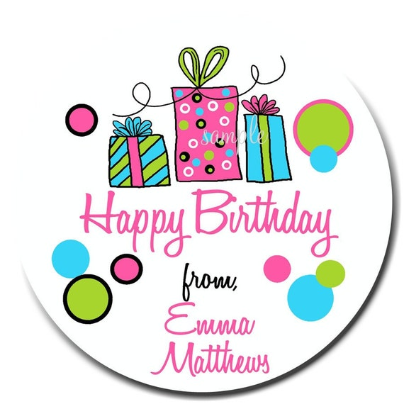 Birthday Gift Stickers, Littlebeane Birthday Gifts, NEW HOT COLORS, Children, Kids, Favor, Polka Dots, Set of 12