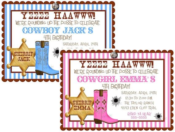 Cowboy Birthday party Invitations Cowboy invites Wild West – Wild West Birthday Invitations