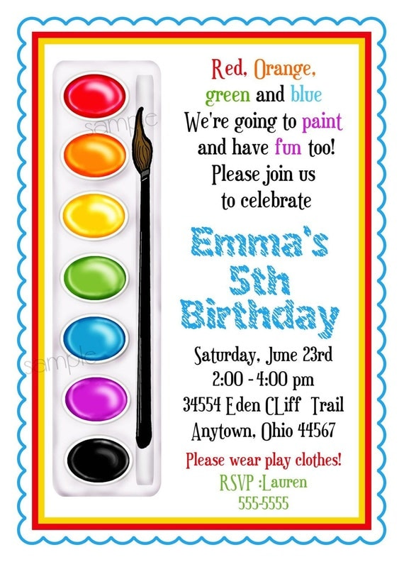 Art invitations painting party birthday party paint box for Paint party invitations free