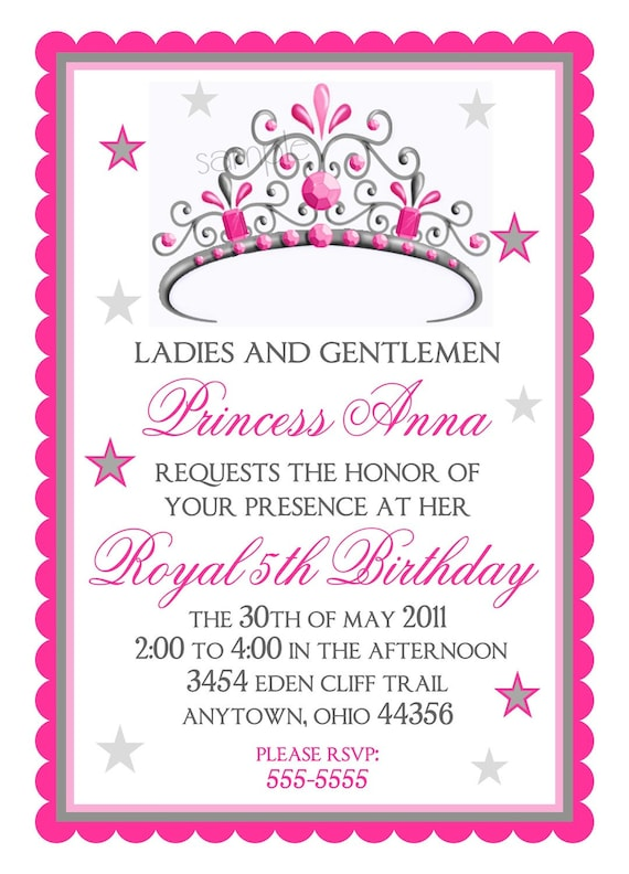 items similar to princess birthday invitations, tiara birthday, Birthday invitations
