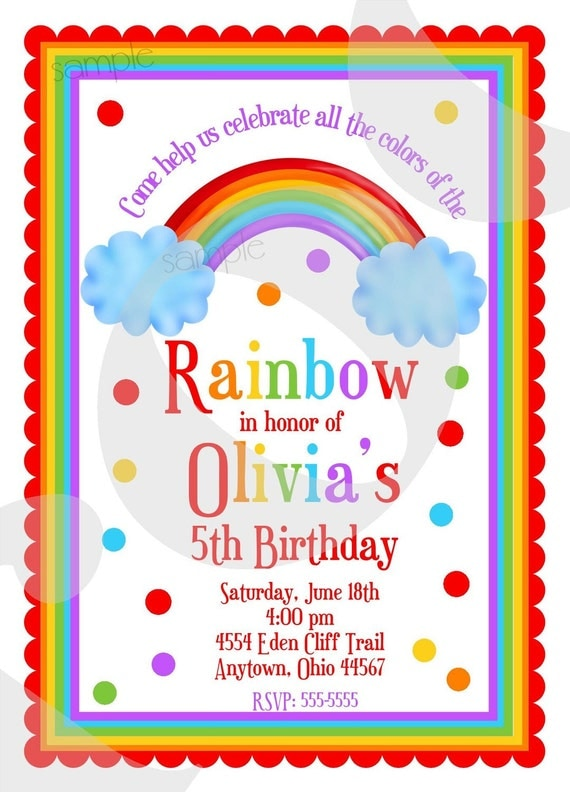 Rainbow Birthday Invitations Rainbow Birthday Party
