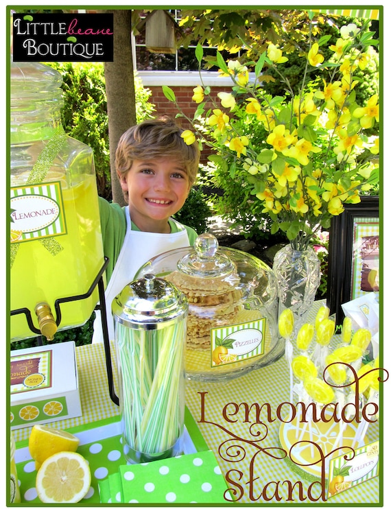 Lemonade Stand Printable Collection- DIY-Littlebeane Boutique, Stickers, labels,food labels, iron on, garland, banner