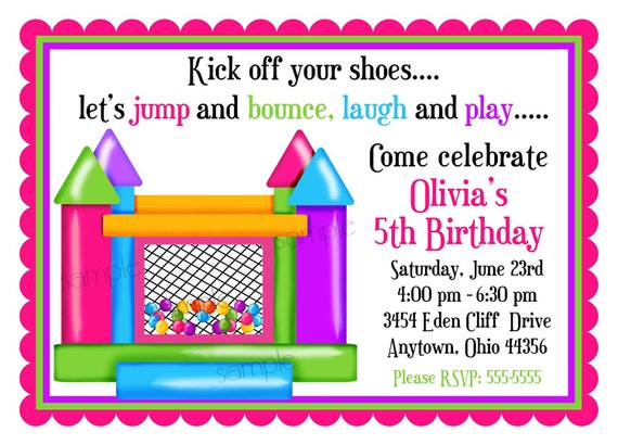 bouncy house invitations ball pit invitations personalized, Birthday invitations