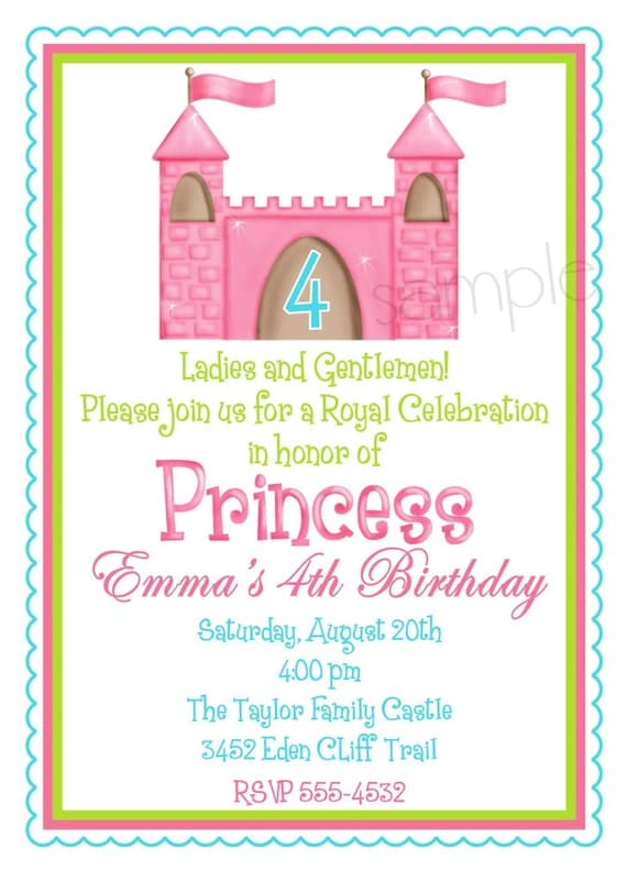 items similar to princess castle invitations, fairy princess, Party invitations