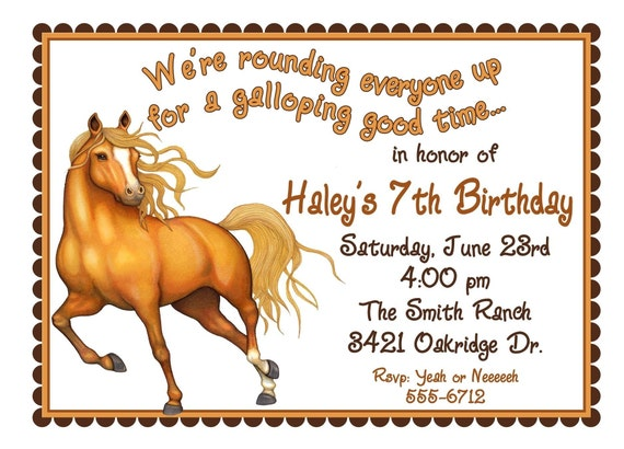 Horse Invitations Horse Birthday party invitations Horse – Horse Party Invitations