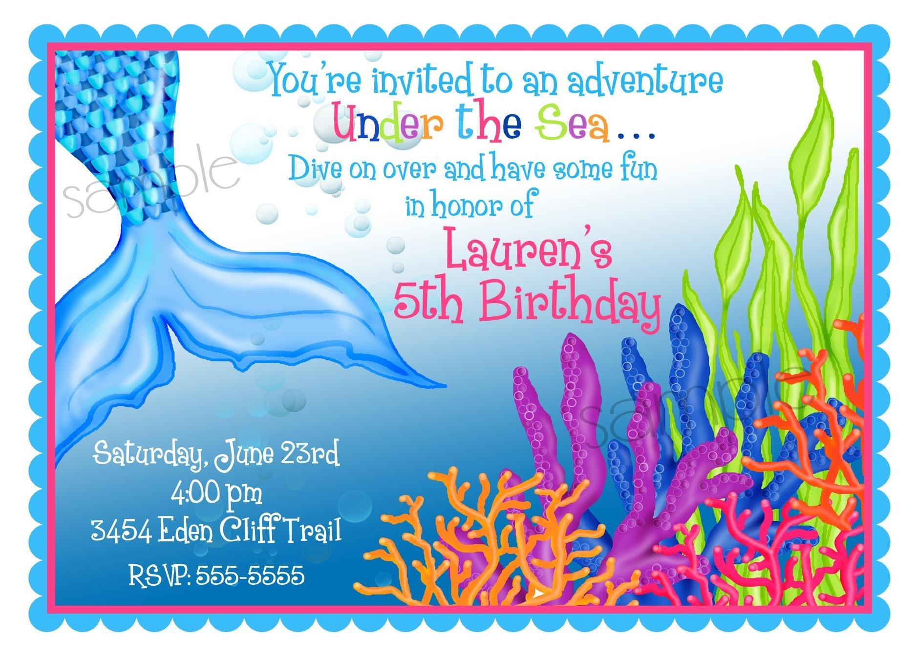 Personalized Invitations Mermaid Under the Sea Ocean