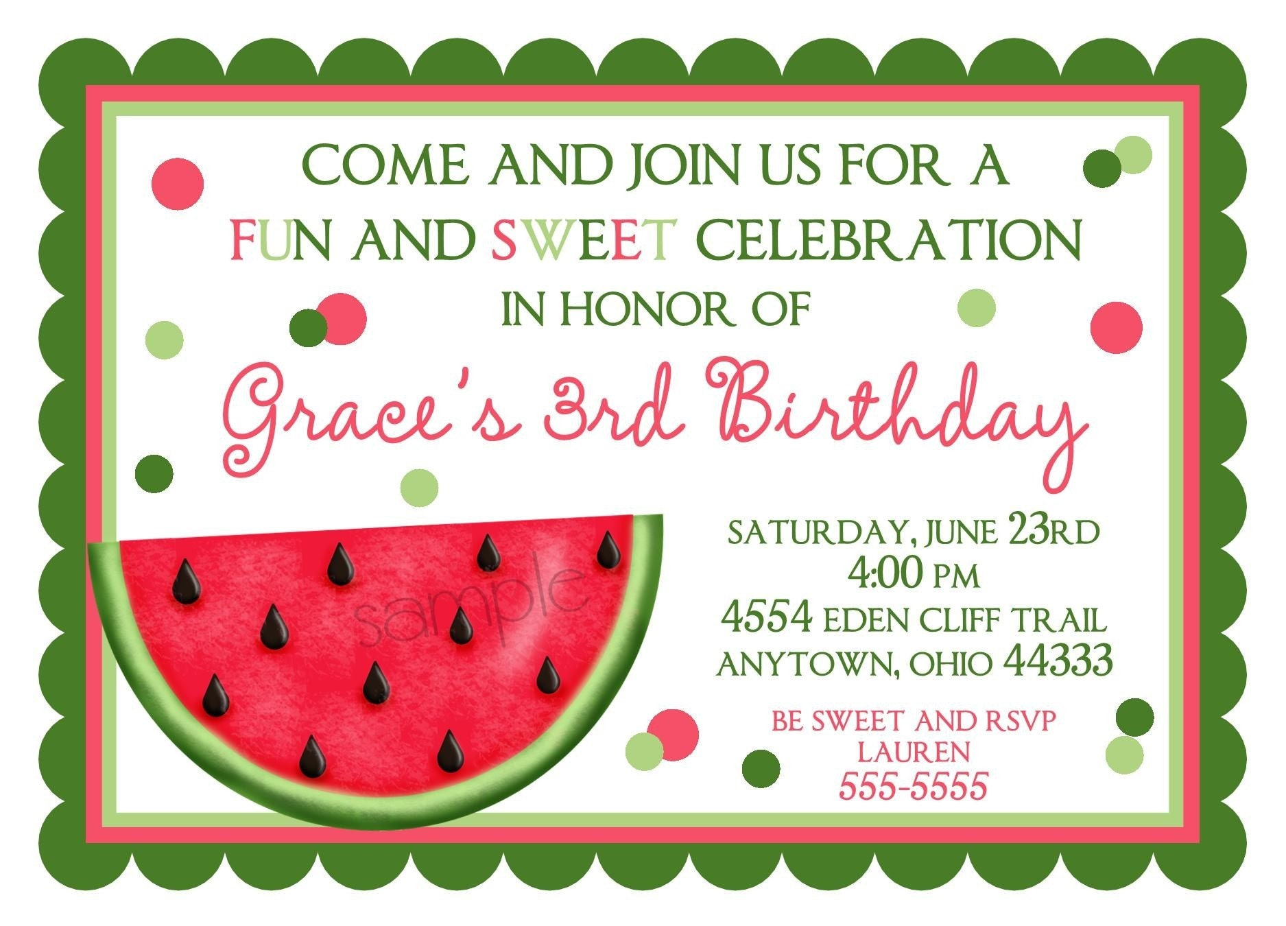 Watermelon Birthday Invitations and get inspiration to create nice invitation ideas