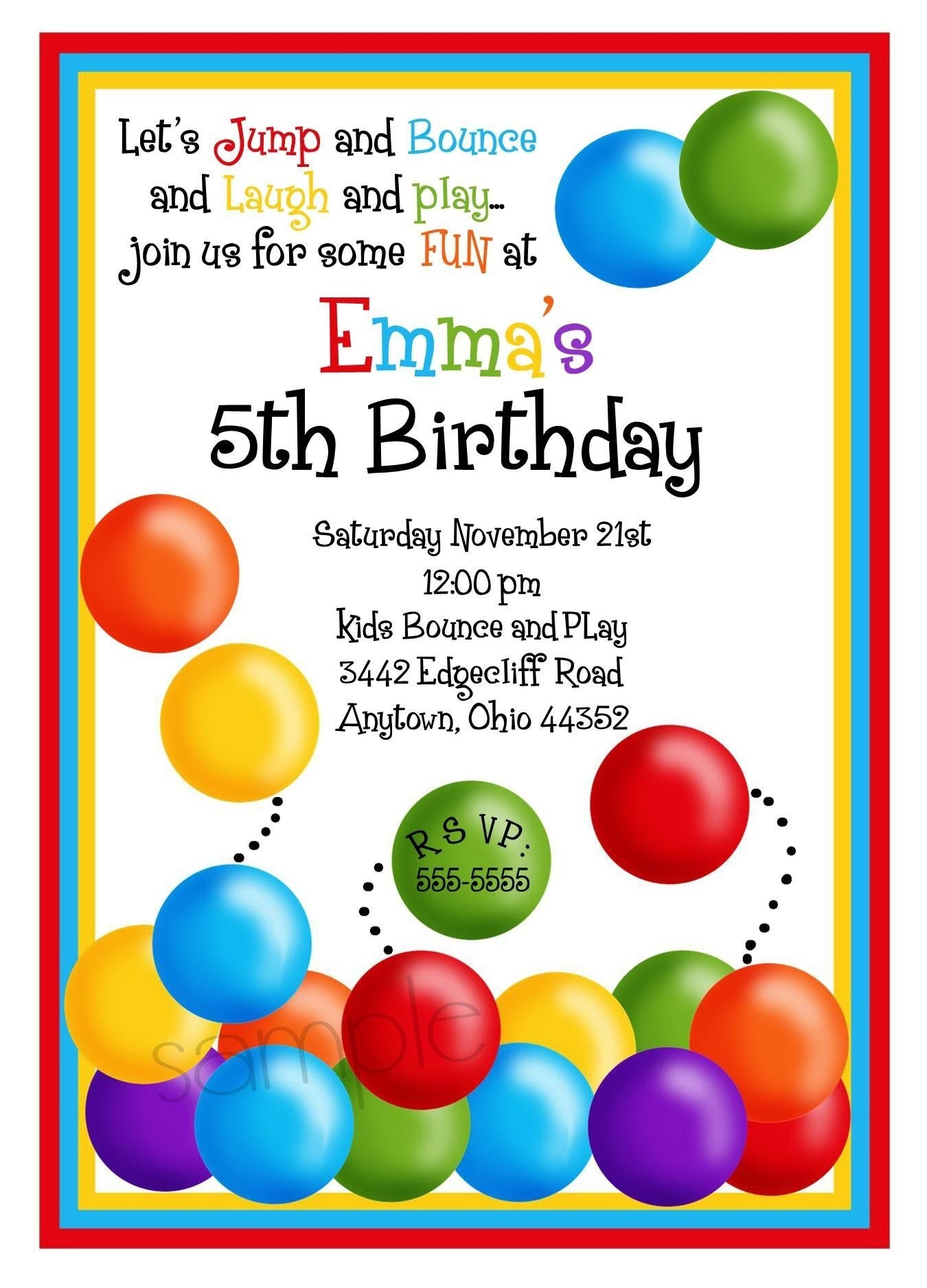 Ball Pit Invitations Ball Pit birthday Party Bouncy House