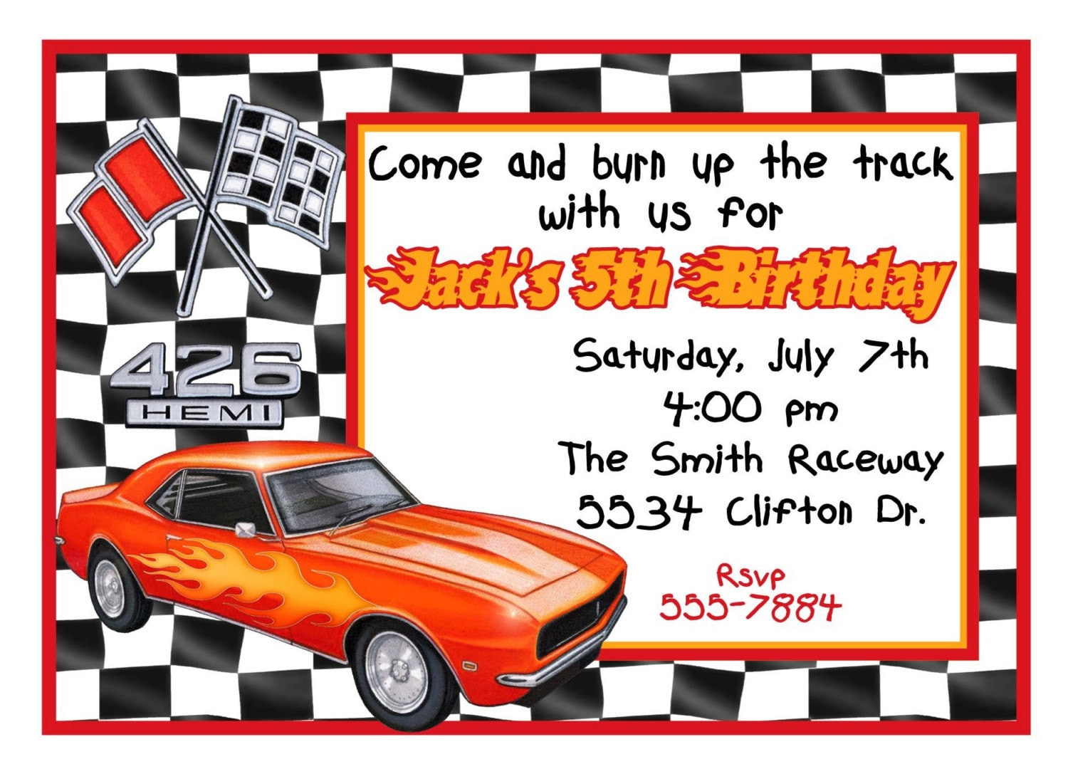 personalized birthday invitations race car car racing, Birthday invitations