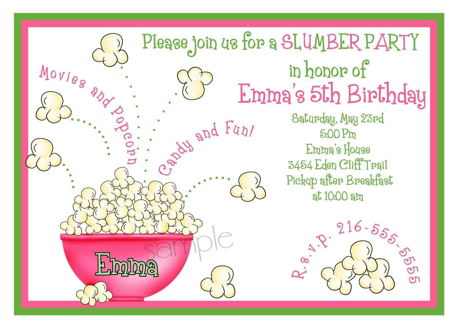 Sleepover stickers – Cute Slumber Party Invitations