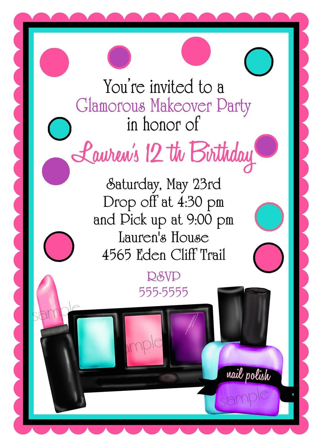 Make up Birthday party Invitations Make up Makeover