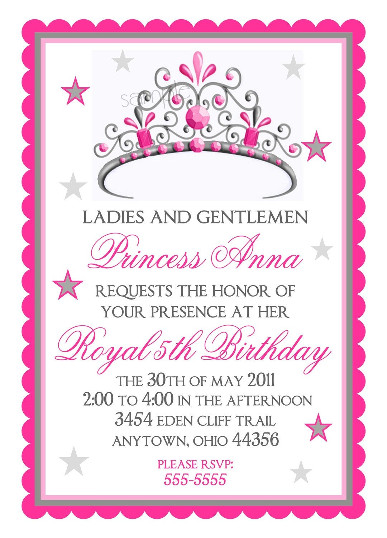 Princess Birthday Invitations Tiara By Littlebeaneboutique