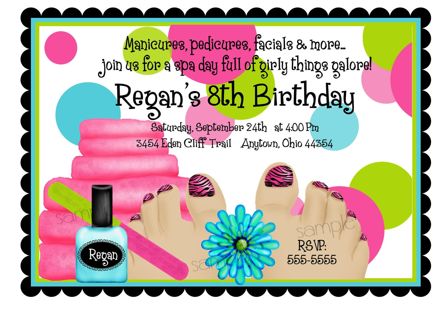 Spa Birthday Party Invitations Spa Party Spa