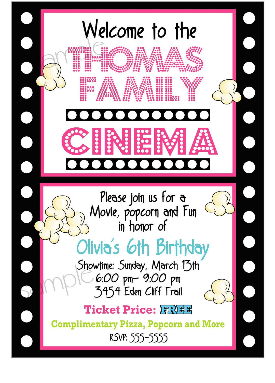 Movie Night Invitations Movie night Birthday party – Movie Night Birthday Party Invitations