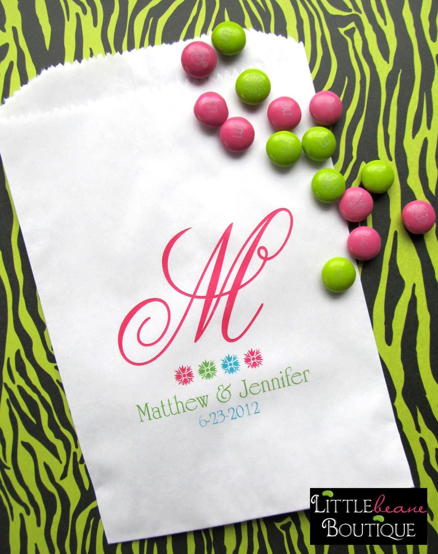 Wedding Favor Bags Candy : Wedding Favor Bags Monogram Favor bags Candy buffet bags