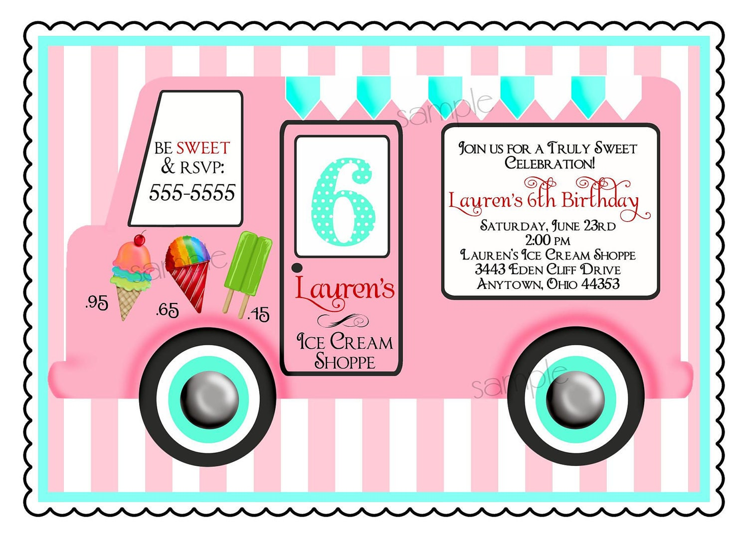 Ice Cream Birthday Party Invitations Vintage Ice cream Truck – Ice Cream Party Invitation