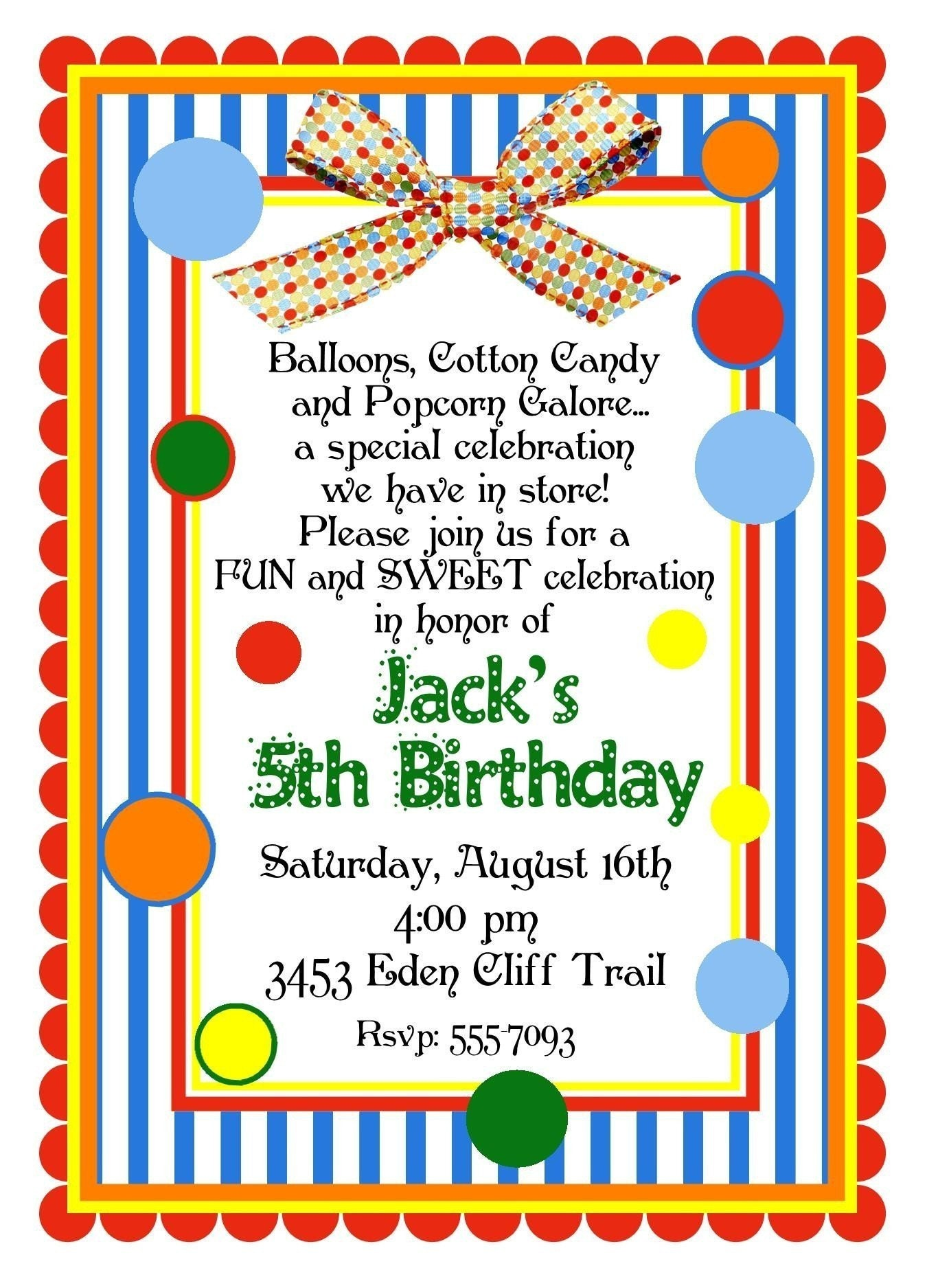 personalized invitations circus carnival birthday party