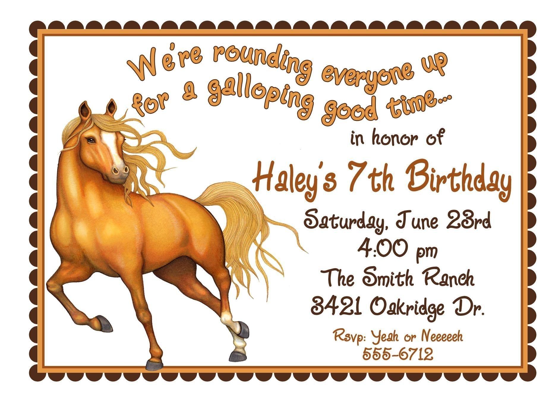 Horse Invitations Horse Birthday party invitations Horse – Horse Birthday Invitations
