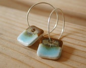 Free US Shipping Turquoise and Brown Porcelain Earrings