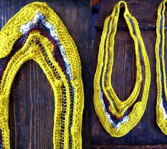 CLEARANCE SALE- OOAK yellow scrap scarf 2