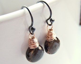 Wire Wrapped Micro Faceted Mixed Metal Minimalist Smoky Quartz Dangles