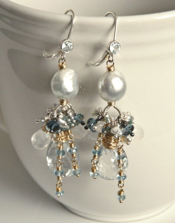 Santorini - Exotic Baroque South Sea Silver Pearls Mixed Metal Earrings with Genuine Blue Diamonds