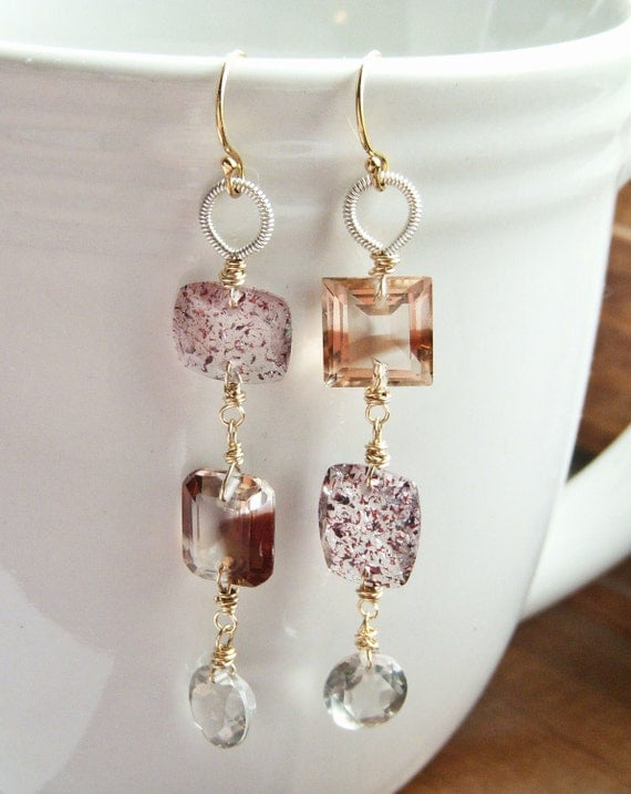 Mirain - Mismatched Gemstone Earrings - 14k Gold Filled - Beryl, Russian Zircon and Lepidocrocite