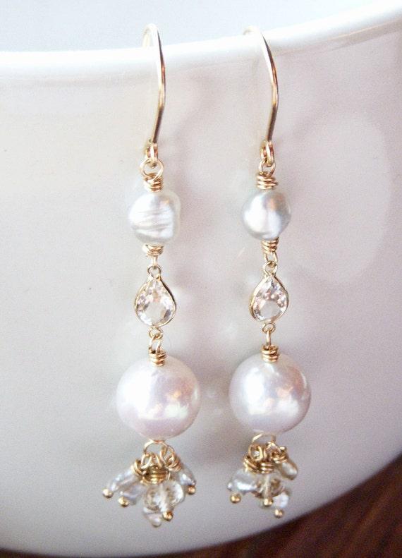 RESERVED- Flourish - Akoya Pearl 14k Gold Linear Earrings - South Sea Keishi - Akoya Keishi - White Topaz