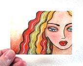 Artist Trading Card, Beach Girl Art ACEO Whimsical ATC Art Print Giclee Art Print, Original Art Print Illustration, Orange
