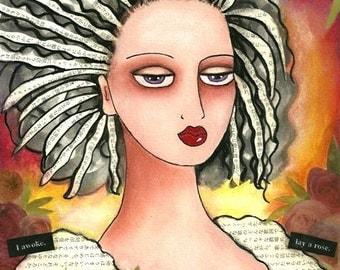 Art Print, 5 x 6.5, Roses and Girl Whimsical Giclee Illustration, Text Folk Art, Mixed Media Art, Pink Black Orange