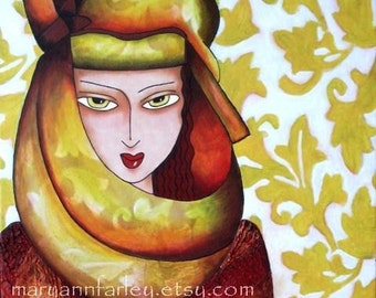 Egyptian Girl Art Print, Female Turban Giclee Art Deco Illustration, Arabic Woman, Mixed Media Painting, 5.5 x 6.5, Red Burgundy Yellow