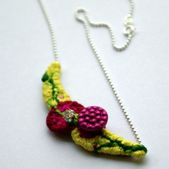 Botanical Bow, a hand embroidered necklace