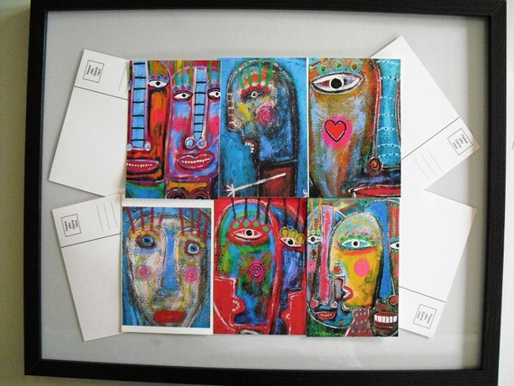 Tracey Ann Finley Art Postcard Set Number 1 Fun And Funky Painting Designs 4x6