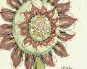 Sunflower art - Sundried - 8x8 fine art print