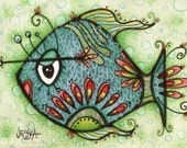 Bathroom wall art - Milton the Fish - 5x7 Fine Art Print