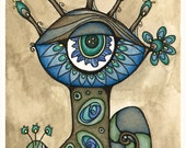 Weird Geekery Whimsical Art - Incognito Eye - Original Watercolor, Ink, Colored Pencil Illustration