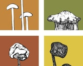 Mushrooms - Earth Edition- ACEO mini Print Set of 4 Miniature Prints - Art for Kitchens
