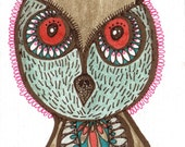 O is for owl no.2 - ACEO miniature original watercolor