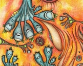 Aliens with blue toes - ORIGINAL watercolour, ink and coloured pencil Illustration - Surreal Wall Decor - Monsters