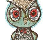 LAST ONE - O is For Owl - Limited Edition Fine Art Print - Childrens Art - edition of 25 only
